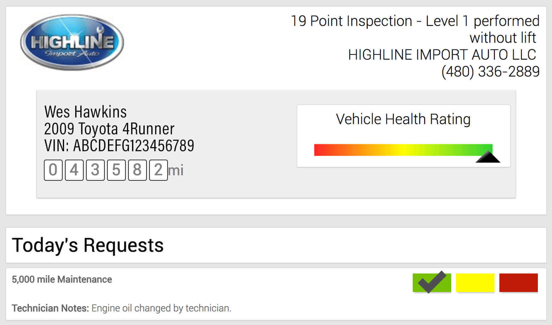 Inspection summary for Highline Car Care Oil Change Service