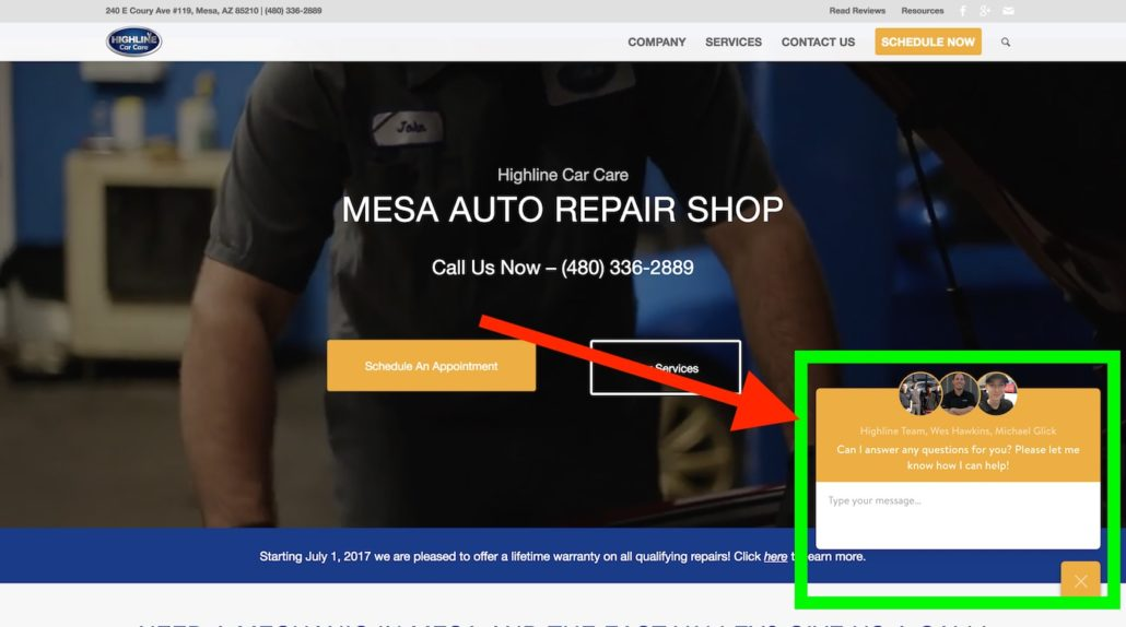 Mesa auto repair shop chat feature image