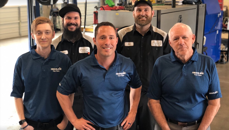Team photo of highline car care team, gilbert, arizona